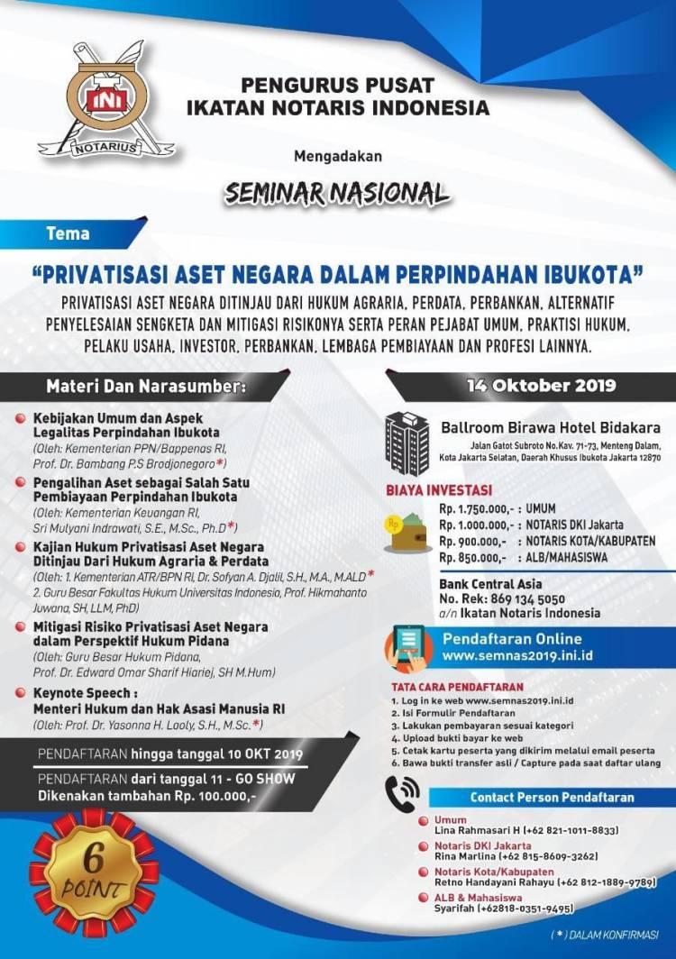 """Seminar Nasional : """"PRIVATISASI ASET NEGARA DALAM PERPINDAHAN IBUKOTA"""""""