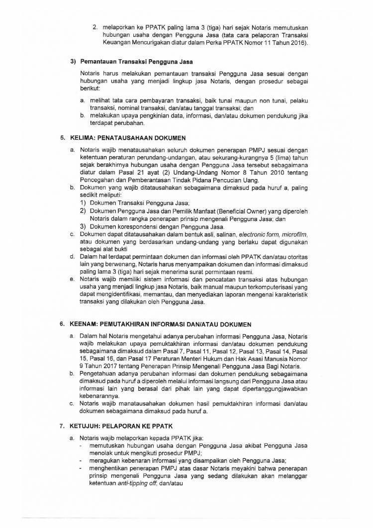 SE No. AHU.UM.01.01-1232 Tentang Panduan Penerapan Prinsip Mengenali  Pengguna Jasa Bagi Notaris