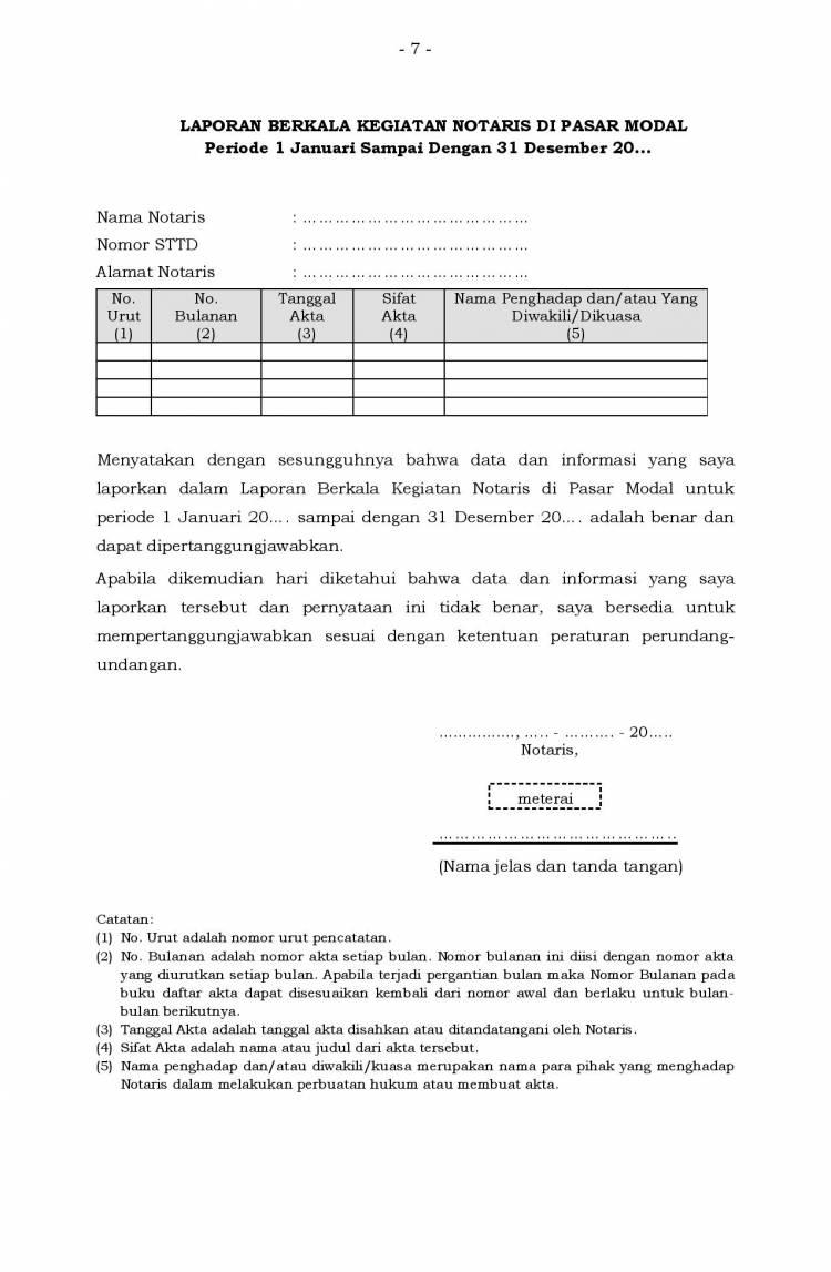 Laporan Berkala Kegiatan Notaris Yang Terdaftar di OJK