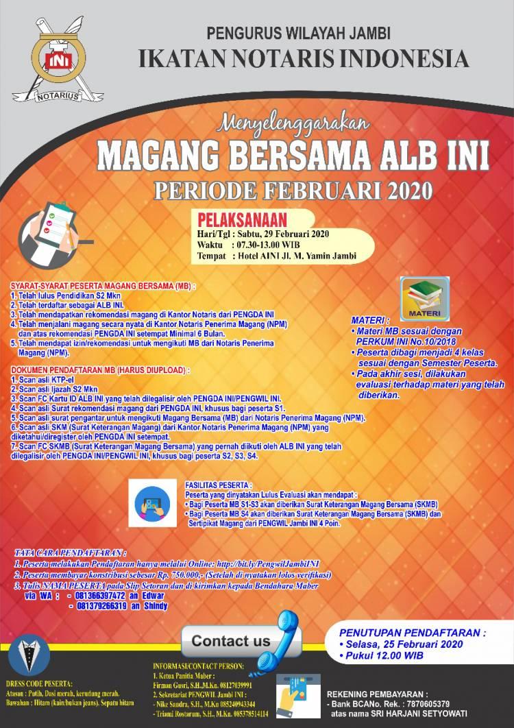 MAGANG BERSAMA PENGURUS WILAYAH JAMBI BULAN FEBRUARI 2020