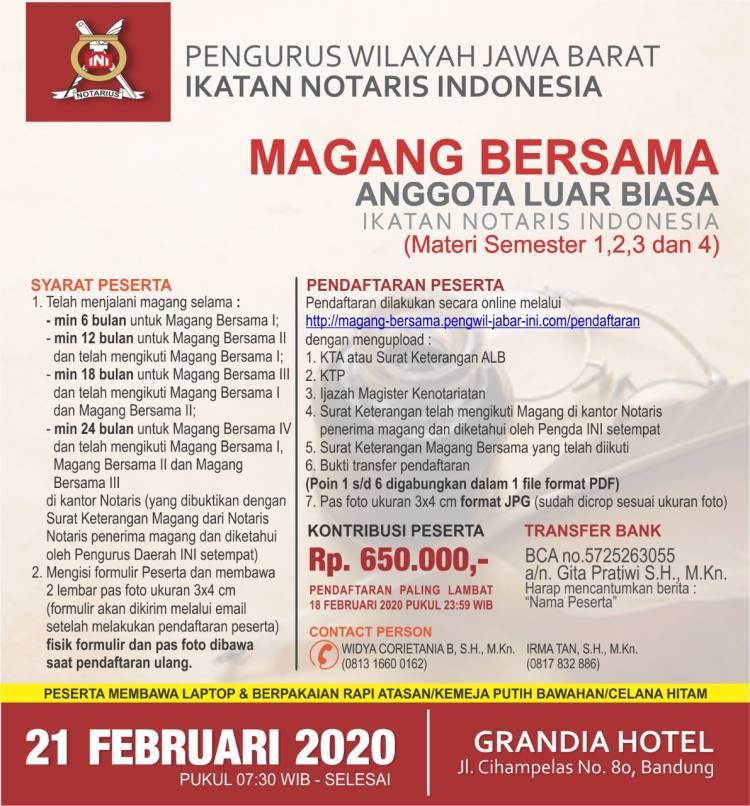 Magang Bersama Pengurus Wilayah Jawa Barat Ikatan Notaris Indonesia Bulan Februari 2020