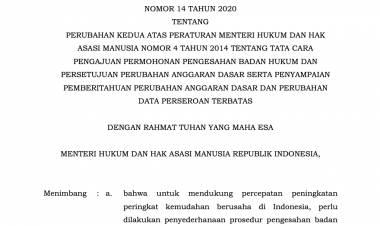 Peraturan Menteri Hukum Dan Hak Asasi Manusia Nomor 14 Tahun 2020 Tentang Perubahan Kedua Atas Peraturan Menteri Hukum Dan Hak Asasi Manusia Nomor 4 Tahun 2014 Tentang Tata Cara Pengajuan Permohonan Pengesahan