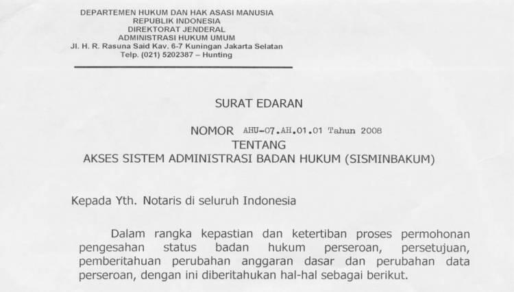 Edaran Dirjen AHU Akses Sisminbakum Tentang Akses Sistem Administrasi Badan Hukum