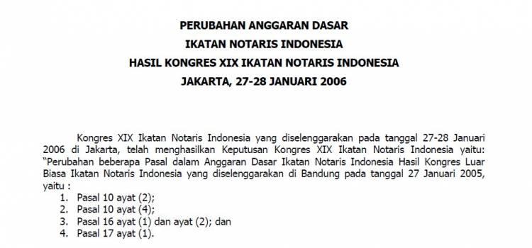 AD Kongres XIX Jakarta (Perubahan AD Hasil KLB)