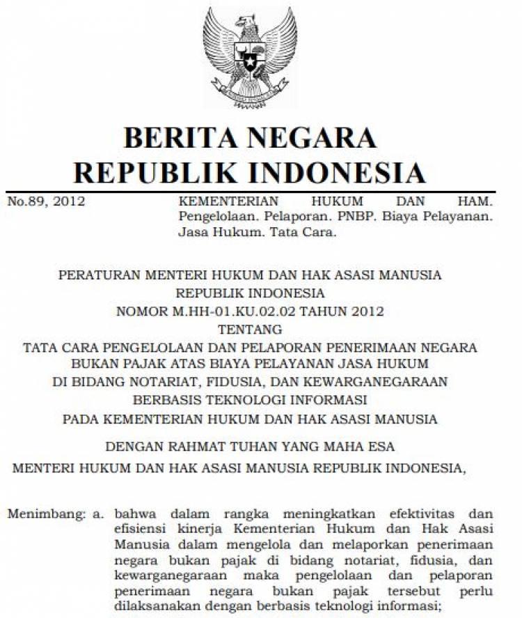 Permenkumham tentang tata cara pengelolaan PNBP thn 2012