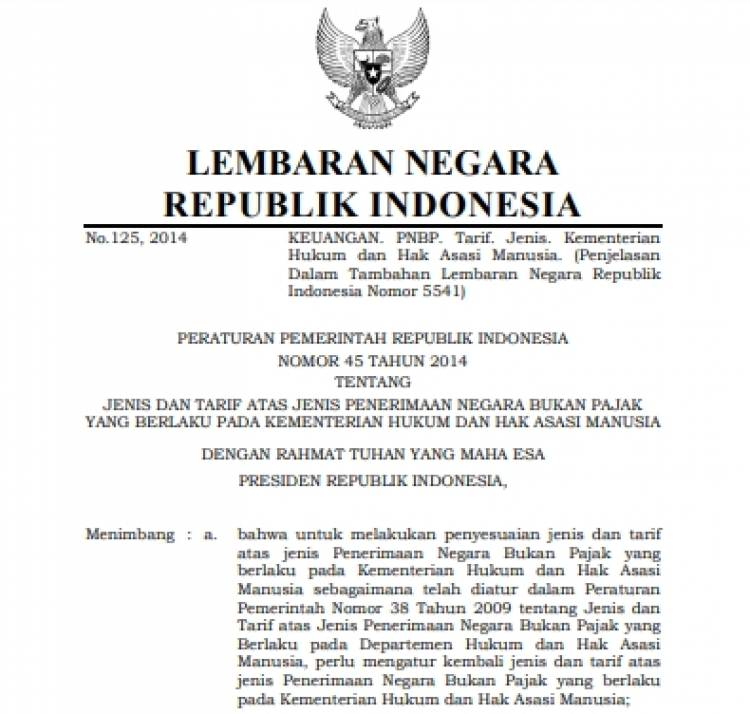 PP No.45 Tahun 2014 Tentang Jenis dan Tarif PNBP Kemenkumham