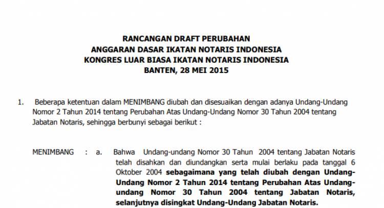 Rancangan Perubahan AD KLB Banten 2015