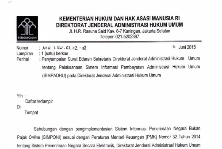 Surat Edaran Sekretaris Dirjen AHU Tentang Pelaksanaan SIMPADHU pada Direktorat Jenderal AHU