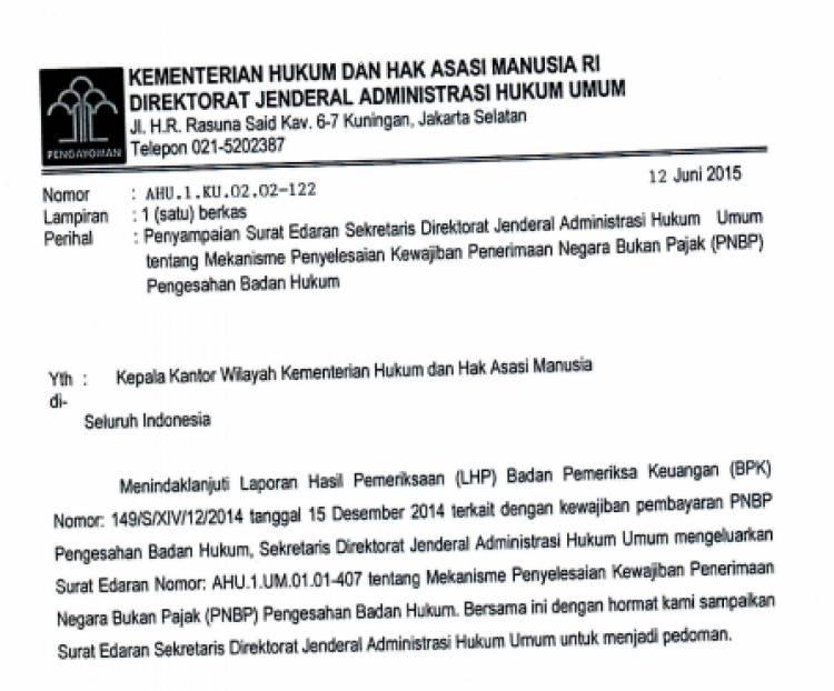 Surat Edaran Sekretaris Dirjen AHU_PNBP