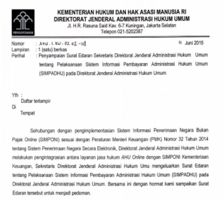 Surat Edaran Sekretaris Dirjen AHU_SIMPADHU
