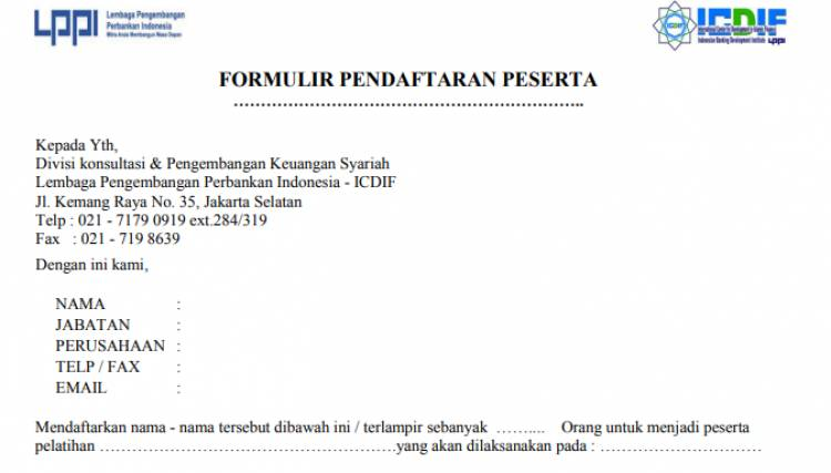 Download formulir pendaftaran peserta pelatihan ICDIF -LPPI