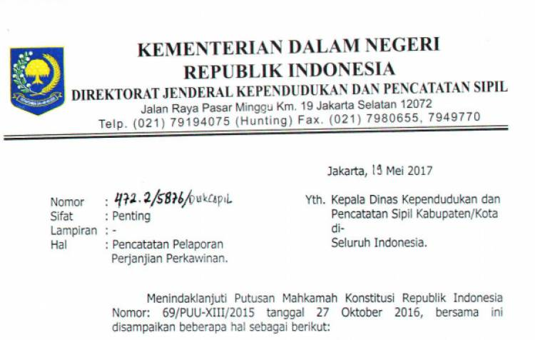 DIRJEN DUKCAPIL NO. 472.2 TTG PENCATATAN PELAPORAN PERJANJIAN KAWIN