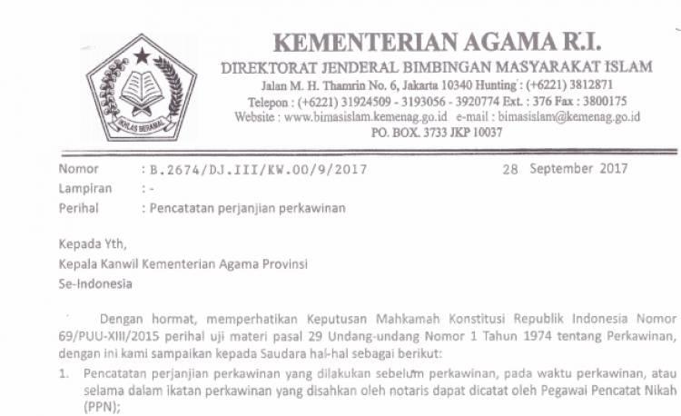 SE MENTERI AGAMA NOMOR B 2674 TAHUN 2017 Tentang Pencatatan Perjanjian Kawin