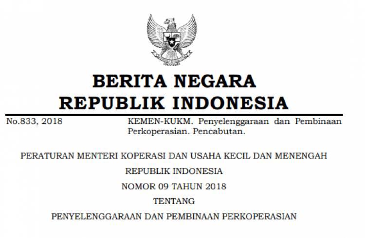PERATURAN MENTERI KOPERASI DAN USAHA KECIL DAN MENENGAH REPUBLIK INDONESIA NOMOR 09 TAHUN 2018 TENTANG PENYELENGGARAAN DAN PEMBINAAN PERKOPERASIAN
