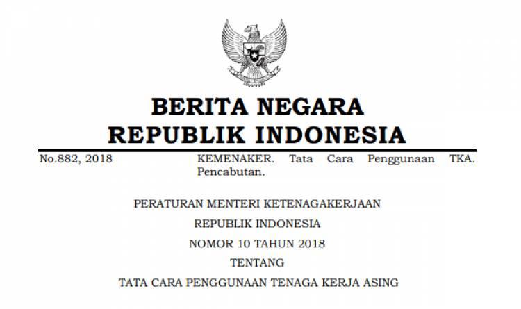 PERATURAN MENTERI KETENAGAKERJAAN REPUBLIK INDONESIA NOMOR 10 TAHUN 2018 TENTANG TATA CARA PENGGUNAAN TENAGA KERJA ASING